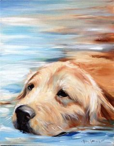 Sparrow Golden Retriever Swimming Original Oil Portrait Painting Dog Water Art | eBay