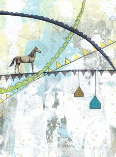Horse Painting , Animal Art Print , Mixed Media Collage Art Reproduction , Whimsical Art 5x7