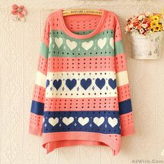 Wow~ Awesome Lovely Heart Hollow Sweater  Sweet Cardigan! It only $29.99 at www.AtWish.com! I like it so much<3<3!
