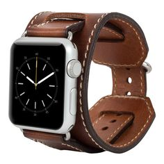 Burkley Watch-Cuff Genuine Leather Band for Apple Watch 42mm in Rustic Brown