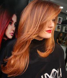 auburn hair with subtle highlights. I love this color!!!