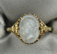 Art Deco Carved Moonstone Cameo Ring Depicting The Bust Of A Maiden In Profile, Set In 14k Gold Filigree Mount - Maker's Mark For Allsopp Bros.