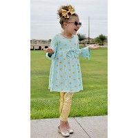 Ruffle Boutique Outfit - Teal/Gold Polka - The Lola