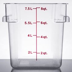 Keep your fruits, vegetables, sauces, spices, ingredients, and more fresh with this 8 qt. clear square food storage container. Made of crystal-clear, break-resistant polycarbonate, this container is perfect for commercial kitchens. This container's square design is ideal for compact stacking and storage. Red gradations along the container's exterior assist in measuring food and accurately accessing inventory. Use a lid (sold separately) to preserve your product's freshness and gua...
