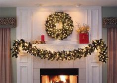"Lighted Christmas Garland - 9' x 14"" Pre-Lit Cumberland Fir Garland, 100 Clear Lamps"