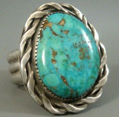 *LARGE HEAVY* RARE 1940's NAVAJO Sterling Silver PILOT MOUNTAIN Turquoise Ring #NavajoOldPawn