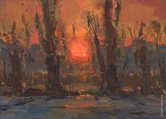 """""""Trees and Sunrise"""" original fine art by Roos Schuring"""