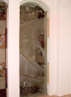 Dsrt Srty Glass Shower Panels Etched Glass Western Decor with etched glass. Add a stunning look to any bathroom! Glass Shower Panels, Shower Doors, Glass Panels, Frosted Glass Door, Glass Doors, Glass Etching, Etched Glass, Bathroom Renos, Bathroom Ideas