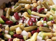 4 Bean Salad from Food.com:   								grandma's recipe it is always gets eaten all up at most potlucks  not too sweet nor too vinegary best if made 2-3  days ahead The longer it sits the better it tastes