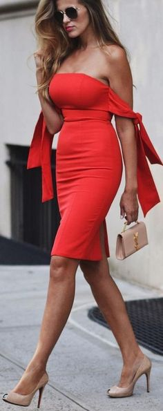 Off the Shoulder Midi Red Dress,Strapless Party Dress,Simple Evening Dress,401