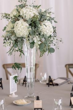 Pilsner Vase with White Hydrangea, Eucalyptus, Dusty Miller