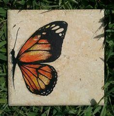 Monarch Butterfly original art on 6 x 6  italian made ceramic tile