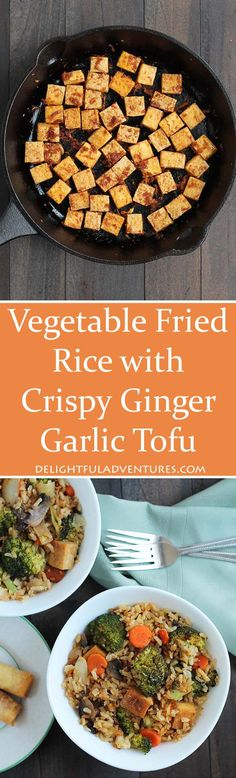 Looking For A Quick Weeknight Dinner Idea? This Vegetable Fried Rice With Crispy Ginger Garlic Tofu Is Perfect, And You'll Have Leftovers For Lunches. Vegetarian And Gluten-Free. Tofu Recipes, Vegan Dinner Recipes, Asian Recipes, Cooking Recipes, Healthy Recipes, Cooking Ideas, Vegetable Fried Rice, Fried Vegetables, Vegan Vegetarian