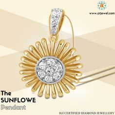 Design Of The Day.... ATJewel Rising Sunflowe Diamond Pendant Styling Sunflower. #Atjewel #Sunflower #Diamond #YellowGold #Pendant http://www.atjewel.com/sunflowe-diamond-pendant