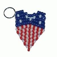 Kids can make this Beaded Patriotic Key Chain Craft for Armed Forces Day and wear it on their backpack or give it to a veteran or service person they know. Blue Crafts, Fun Crafts For Kids, Craft Kids, Pony Bead Patterns, Perler Patterns, Boy Scout Crafts, Patriotic Crafts, Thinking Day, Camping Crafts