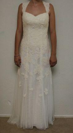 Davids Bridal Lace Cap Sleeve Trumpet W Keyhole Back Vw9768