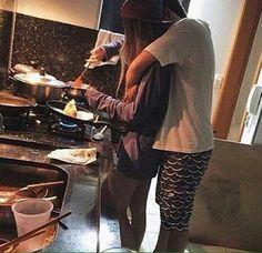 Sang making breakfast to Gabriel ❤️ big long sleeve purple shirt pans pots sink legs white shirt long hair