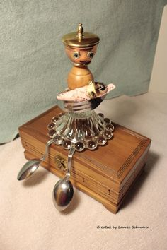 """""""Mother and Child"""" ~ Original junk art sculpture created by Laurie Schnurer in The box opens and is usable. I made this for my pregnant daughter. U Craft, Sculpture Art, Metal Sculptures, Diy Robot, Spoon Art, Found Object Art, Junk Art, Assemblage Art, Everyday Objects"""