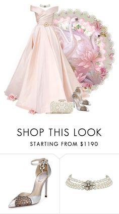 Pink swan dream by fashionrushs on Polyvore featuring René Caovilla, Oscar de la Renta and Georges Hobeika