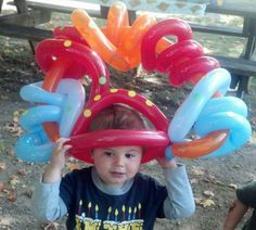Birthday balloon hat with polka dots