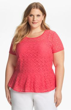 DKNYC Lace Peplum Top (Plus) available at #Nordstrom