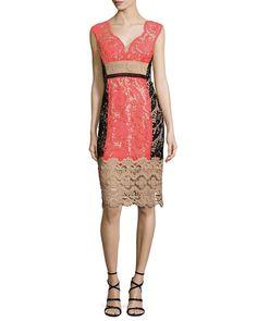 Нанетт Лепоре Cap рукавом Кружева Colorblock коктейльное платье