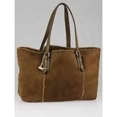 Gucci Tan Suede/Shearling Guccissima Jolicoeur Tote Bag