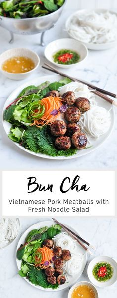 Bun Cha - Vietnamese Pork Meatballs with Fresh Noodle Salad | eatlittlebird.com