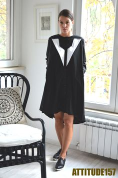Oversized Dress,Black and White Shirt Dress,Sexy Dress,Autumn Dress,Extravagant Tunic,Assymmetric Dress,ATTITUDE157 Shirt Dress,Black Shirt by ATTITUDE157 on Etsy