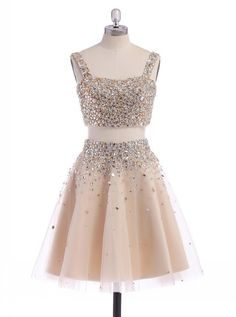 2016 homecoming dress, two piece homecoming dress, straps homecoming dress, above-knee homecoming dress, champagne homecoming dress, organza homecoming dress, sparkling homecoming dress, discount homecoming dress, cheap homecoming dress, #2016 #organza #champagne #cheap