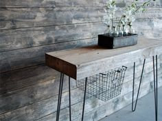Industrial Console table with thick reclaimed wood top, hairpin legs.(free…