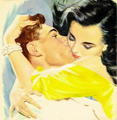 """Tom Lovell This painting illustrated the story """"With All My Heart"""" in Woman's Own magazine in February Vintage Ad Romance Art, Vintage Romance, Vintage Love, Vintage Art, Arte Do Pulp Fiction, Tom Lovell, Illustrations Vintage, Arte Country, Vintage Couples"""