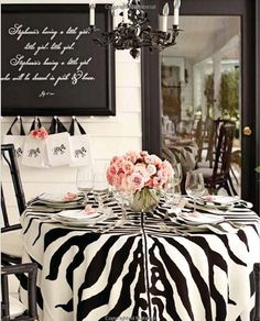 Gorgeous baby shower decor featuring zebra print and pastel pink for a baby girl. From Monica Pedersens Book, Make It Beautiful: Designs and Ideas for Entertaining at Home. Zebra Decor, White Baby Showers, White Shower, Baby Shower Decorations, Table Decorations, Pink Zebra, Baby Zebra, Cheetah, Black And White Baby