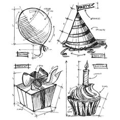 Stampers Anonymous / Tim Holtz Birthday Blueprint (CMS153)