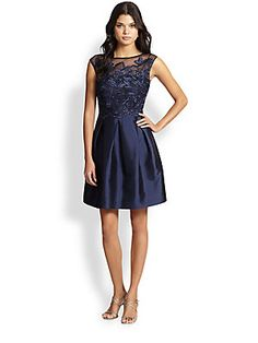 Kay Unger Embroidered Lace & Satin Dress