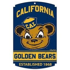 "CALIFORNIA GOLDEN BEARS EST. 1868 COLLEGE VAULT WOOD SIGN 11""X17'' NEW WINCRAFT"