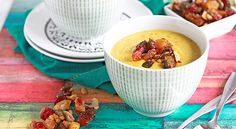Curried Cauliflower Soup with Indian Spice Streusel