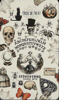 Witchy Wallpaper, Fall Wallpaper, Wallpaper Backgrounds, Iphone Wallpaper, Fröhliches Halloween, Halloween Tattoo, Vintage Halloween, Halloween Skeletons, Halloween Fabric
