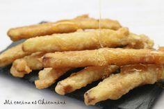 Tiras de berenjena frita a la miel