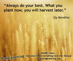 Always do your best. What you plant now, you will harvest later - Og Mandino + Remember to take the best customers into your life, it has a huge impact on your future. Get your free branding workbook at http://www.brandgineering.org