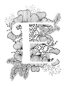 Art print of letter E with floral background. Great gift! Message me for customizations or commissioned pieces. Black and white ink, more letters of the alphabet coming soon.