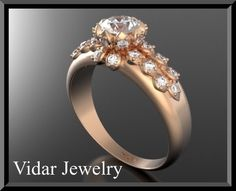 14k Rose gold Flower Diamond Engagement Ring  Halo by Vidarjewelry, $3900.00