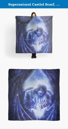 """Supernatural Castiel Scarf, Shawl, Wrap - Angel in Blue. This is a beautiful 55"""" square, microfiber polyester scarf that features my original art/design, and has a slightly transparent effect. The print is fully visible on the front and the back. It has the Anti-Possession Pentacle Sigil from Supernatural, made up of the lyrics to 'Carry On My Wayward Son'…"""
