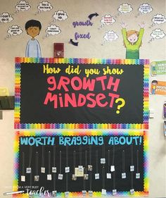 I'm excited to use my growth mindset board in my new classroom this year. I made it interactive by having students use post-it notes to write ways they show a growth mindset. Those post-its were then stuck to the board. We changed them weekly. The board was also a good reference to help students change their words so they could change their mind. Read more on the blog about growth mindset in the classroom and grab this bulletin board set for yourself! Beginning Of School, New School Year, School 2017, Summer School, Primary School, Middle School, Classroom Walls, Future Classroom, Classroom Ideas