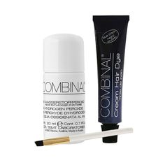 Combinal Cream Hair Dye (Blue Black) .5 oz with Brush & 5% Hydrogen Peroxide .7 oz. Combinal Cream Hair Dyes penetrate deep into the hair structure. Delivers maximum color intensity. Long lasting glossy shine and high coverage results, lasts up to 8 weeks, results in 8 to 10 minutes. 5% Peroxide helps achieve correct consistency when blending two products together. Set includes 1 tube of Blue Black, applicator brush, and one bottle of Peroxide.