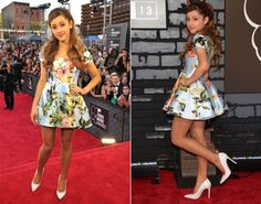 """Ariana Grande in Kenley Collins.   """"The Way"""" singer Ariana Grande showed off her sweet side in a floral Kenley Collins dress at the MTV VMAs on Aug. 25, 2013."""