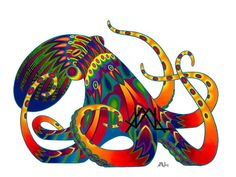 """Oaxacan Octopus original colored pencil painting 11"""" x 17"""" prints on Etsy, $12.00"""