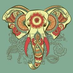elefante hindu: Vector Elefante en el ornamento del indio de la alheña