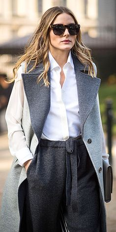 great grey outfit high waisted pants and gorgeous coat