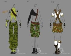 Camouflage Outfit Adopts - sold by Nahemii-san.deviantart.com on @deviantART